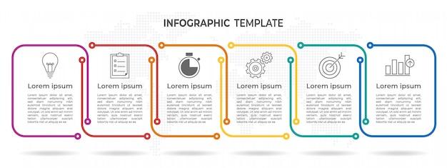 Tijdlijn infographic 6 opties.