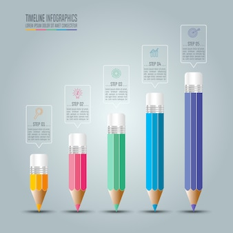 Tijdlijn infographic bedrijfsconcept met 5 opties.
