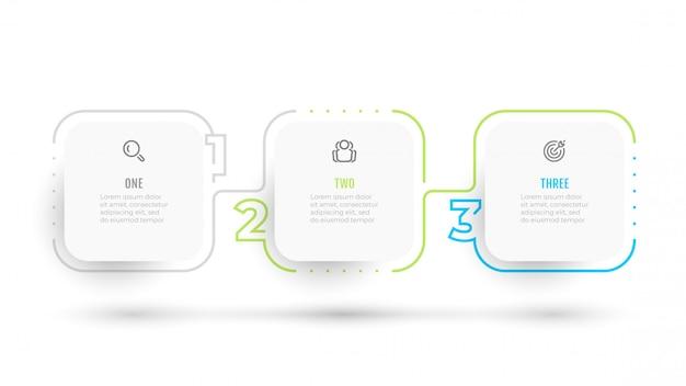 Tijdlijn infographic dunne lijn elementen met opties voor alineanummering, bedrijfsconcept met 3 stappen, wit vierkant object.