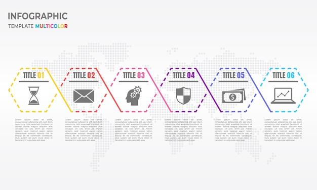 Tijdlijn infographic dunne lijn pijl ontwerp met veelhoek 6 opties.