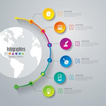 Tijdlijn infographic elementen voor de presentatie