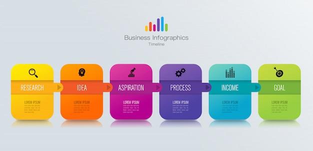 Tijdlijn infographic elementen