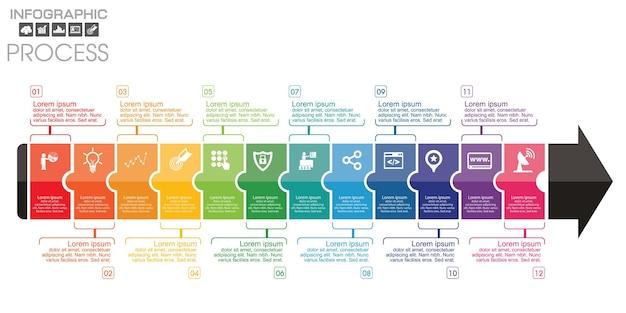 Tijdlijn infographic-grafiek met veel kleur. vector ontwerpsjabloon.