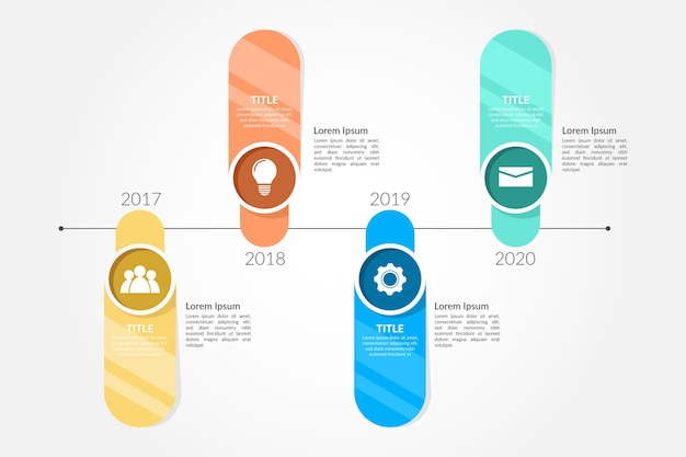 Tijdlijn infographic in vlakke stijl