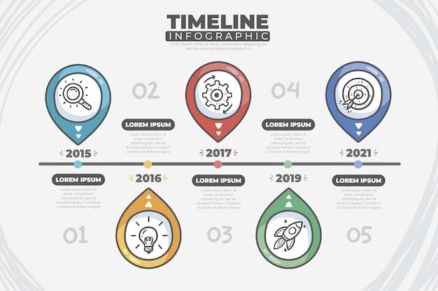 Tijdlijn infographic kleurrijk ontwerp