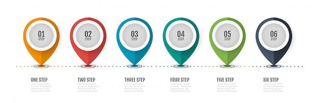 Tijdlijn infographic labelontwerp met nummeropties. bedrijfsconcept met 6 stappen, processen.