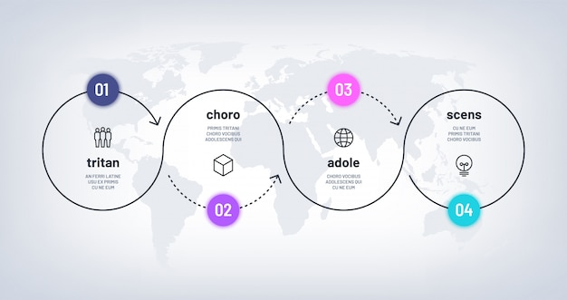 Tijdlijn infographic. lus proces grafiek met 4 stappen op wereldkaart. zakelijke vier opties verwerken met getallen. werkstroomdiagram