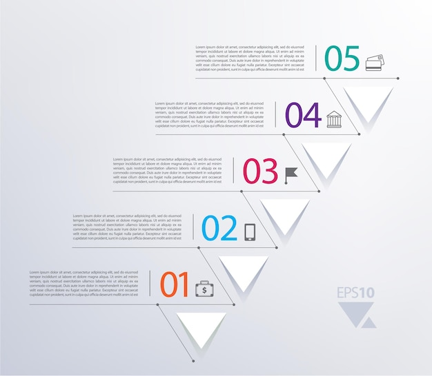 Tijdlijn infographic met cijfers en driehoeken omhoog