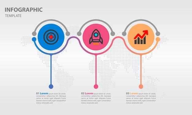 Tijdlijn infographic met cirkel 3 opties