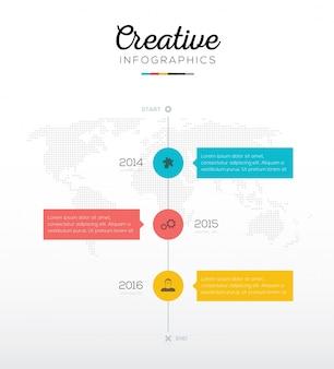 Tijdlijn infographic met drie opties in platte bedrijfskleuren