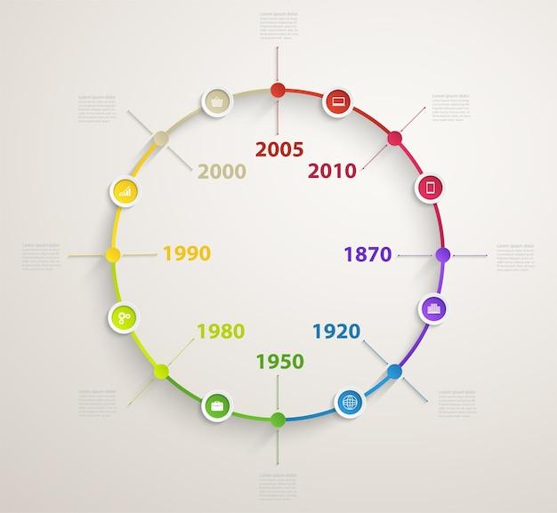 Tijdlijn infographic met pictogrammen bedrijfs. cirkeldiagram van workflow door jaren.