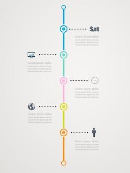 Tijdlijn infographic met pictogrammen bedrijfs, stapstructuur naar succes