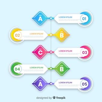 Tijdlijn infographic met verschillende stappen