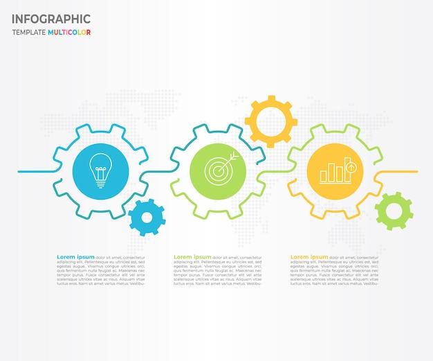 Tijdlijn infographic met versnelling 3 opties