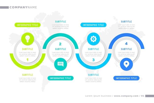 Tijdlijn infographic met vooruitgang