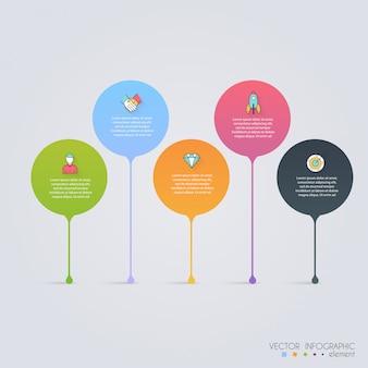 Tijdlijn infographic ontwerpsjablonen. grafieken, diagrammen en andere vectorelementen voor presentatie van gegevens en statistieken