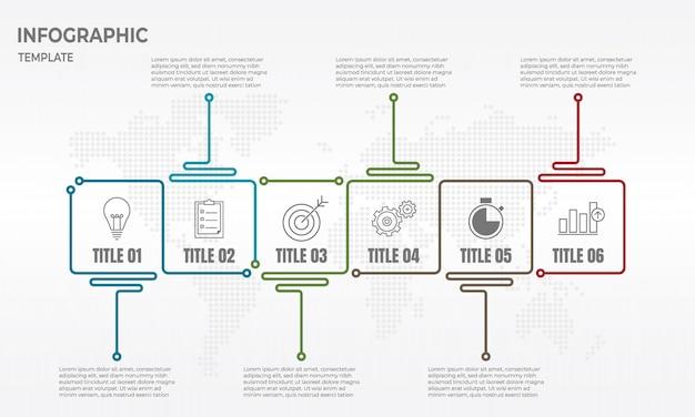 Tijdlijn infographic ontwerpsjabloon met 6 opties