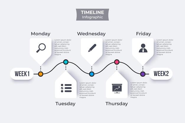 Tijdlijn infographic plat