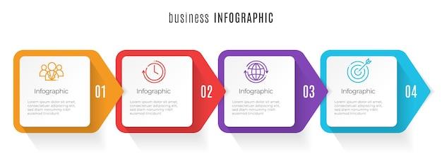 Tijdlijn infographic sjabloon 4 stappen