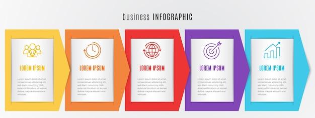 Tijdlijn infographic sjabloon 5 opties