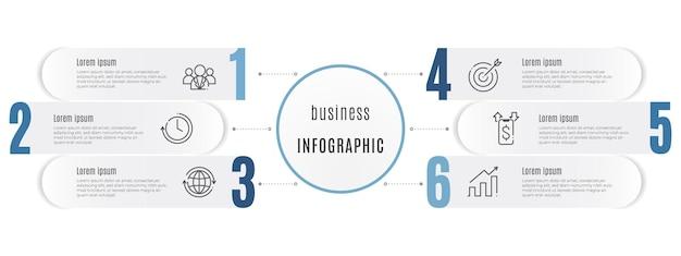 Tijdlijn infographic sjabloon 6 opties cirkelstijl