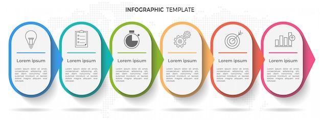 Tijdlijn infographic sjabloon 6 opties of stappen.