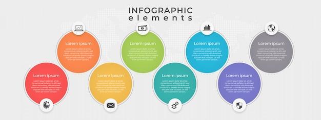 Tijdlijn infographic sjabloon cirkel 8 optie.
