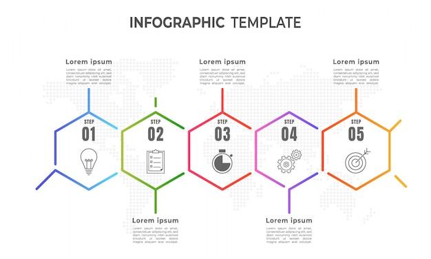 Tijdlijn infographic sjabloon, dunne lijnstijl 5 stap.