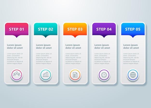 Tijdlijn infographic sjabloon met 5 stappen