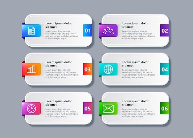 Tijdlijn infographic sjabloon met 6 stappen