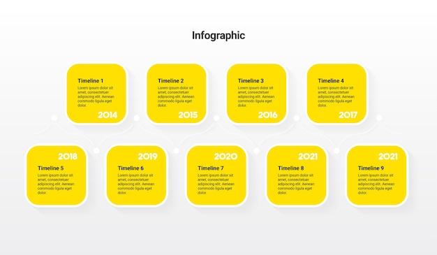 Tijdlijn infographic sjabloon met 9 stappen
