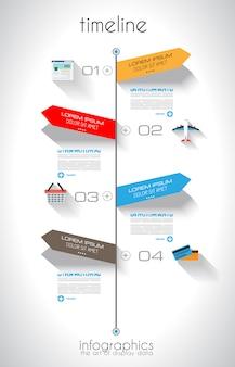 Tijdlijn infographic sjabloon met papieren labels