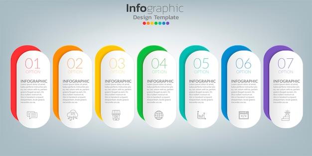 Tijdlijn infographic sjabloon met pictogrammen in succes concept.