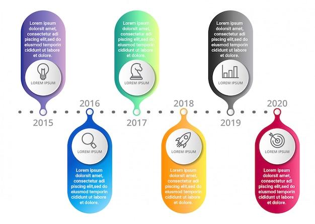 Tijdlijn infographic sjabloon met pictogrammen opties of stappen