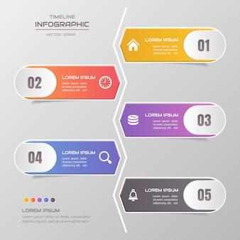 Tijdlijn infographic sjabloon met pictogrammen