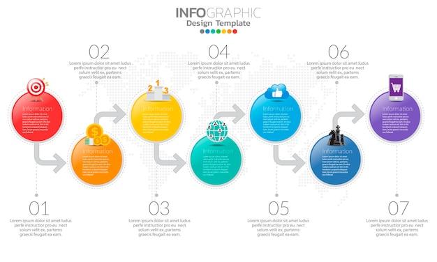 Tijdlijn infographic sjabloon met pijlen en 5 opties plat ontwerp
