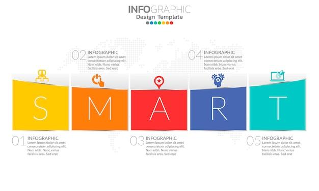 Tijdlijn infographic sjabloon met pijlen en 5 opties