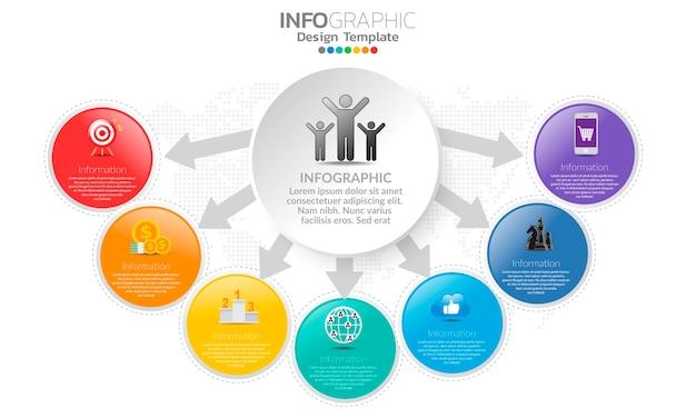 Tijdlijn infographic sjabloon met pijlen en 7 opties plat ontwerp