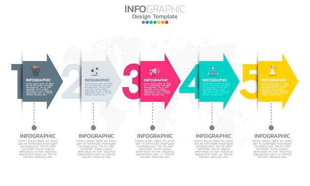 Tijdlijn infographic sjabloon met pijlen en opties plat ontwerp