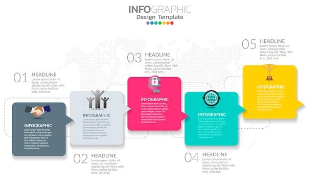 Tijdlijn infographic sjabloon met pijlen en opties