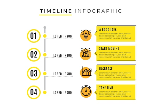 Tijdlijn infographic sjabloon met stappen