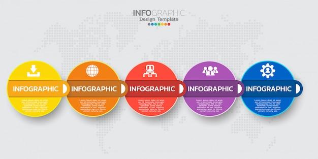 Tijdlijn infographic sjabloon met vijf stappen