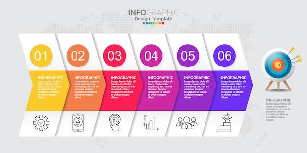 Tijdlijn infographic sjabloon met zes stappen