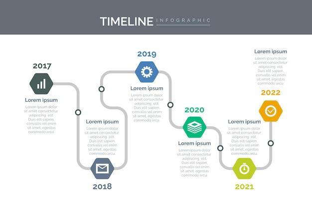Tijdlijn infographic sjabloon plat ontwerp