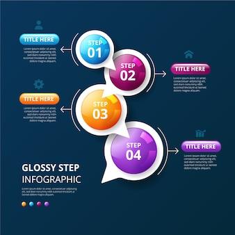 Tijdlijn infographic sjabloon realistisch glanzend