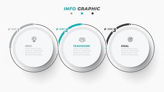 Tijdlijn infographic sjabloon voor bedrijfsprocesstappen