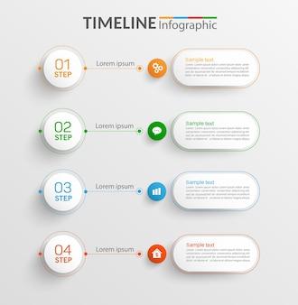 Tijdlijn infographic sjabloonontwerp met 4 stappen