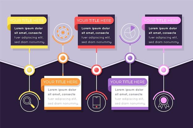 Tijdlijn infographic stappen concept
