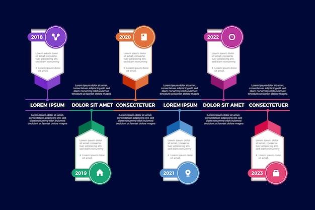 Tijdlijn infographic verloopsjabloon