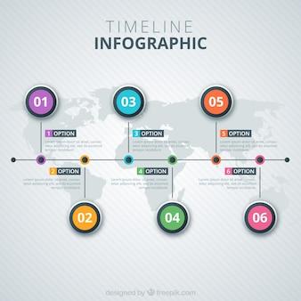 Tijdlijn infographic weergeven op een kaart